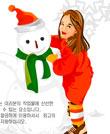 小女孩与雪人