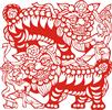 矢量剪纸图案-舞狮