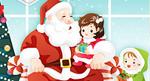矢量圣诞老人与小