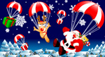 矢量空降圣诞老人