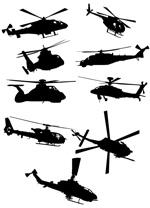 直升飞机剪影矢量