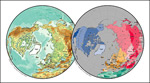矢量北半球球面地图