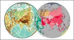 矢量亚洲球面地图
