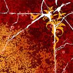 裂痕与花卉颓废背景