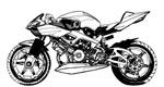 矢量黑白摩托车