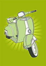 矢量复古小摩托车