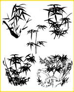 矢量植物水墨竹梅