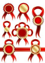 矢量红色丝带胸章