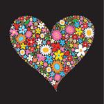 花卉组成的心形
