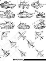 线描战斗机与坦克