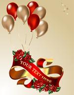 气球丝带玫瑰花