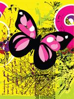 矢量蝴蝶与枯枝