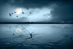夜晚的湖面