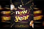 金色新年快乐海报