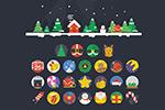 扁平化圣诞节图标