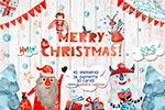 圣诞水彩手绘素材