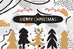 圣诞森林动物插图
