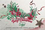 油墨水彩圣诞素材