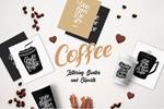 手写咖啡主题字母