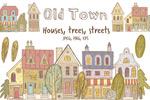 手绘复古老镇