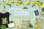 水彩花卉柠檬元素