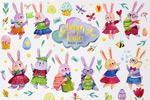 复活节手绘水彩兔