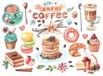 水彩咖啡甜品