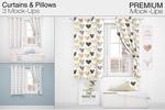 窗帘和枕头样机