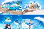 夏日海浪促销海报