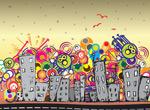 可爱城市插画