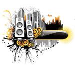 音乐城市插画