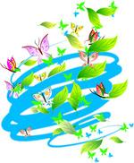 矢量旋风树叶蝴蝶