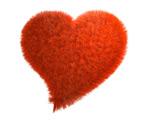 红色毛绒心形