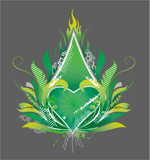 绿色心形火焰