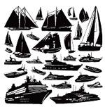 帆船船只剪影