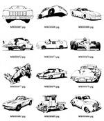 黑白卡通汽车图案