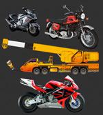 摩托车与起重机