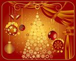 红色圣诞树窗帘