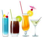 4杯饮品矢量