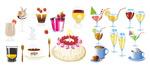 饮料和蛋糕矢量