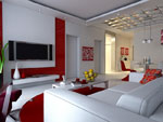 Red and white personalized living room model