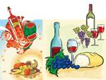 水果与酒矢量