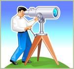 用望远镜的男人