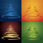 四色圣诞树矢量
