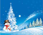 圣诞节雪人雪景