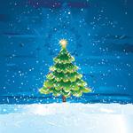 雪地圣诞树矢量