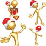 圣诞金色3D小人