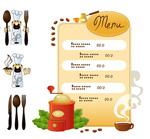 厨师、咖啡厅菜单