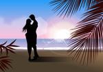 男女海滩剪影