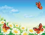花丛蝴蝶矢量